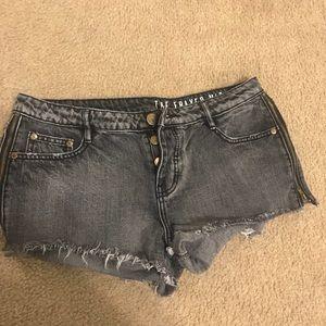 Dark grey jean shorts with zipper sides